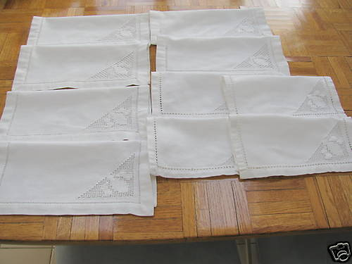 00159 Tablelinens 10 drawnwork napkins